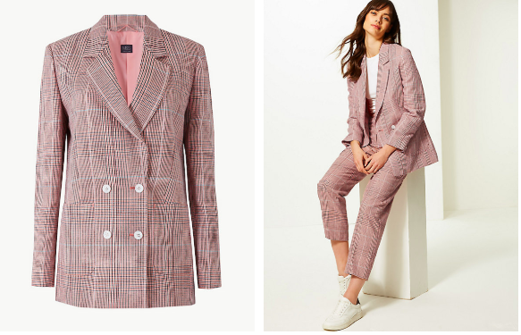 Pink checked double breasted blazer
