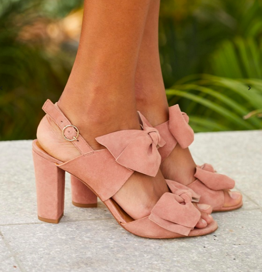 Bow blush suede shoes