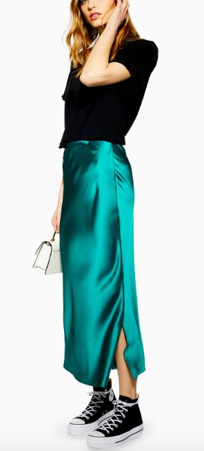 Green satin skirt - Topshop