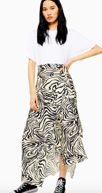 Silk Zebra print skirt from Boutique at Topshop