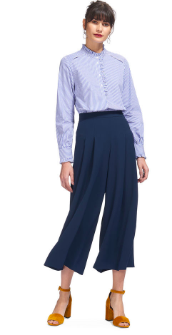 Whistles Navy Pleated Trousers