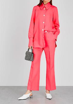 Stine Goya pink kick flare trousers at Harvey Nichols