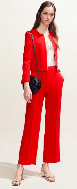 Claudie Pierlot wide legged trousers in cherry red