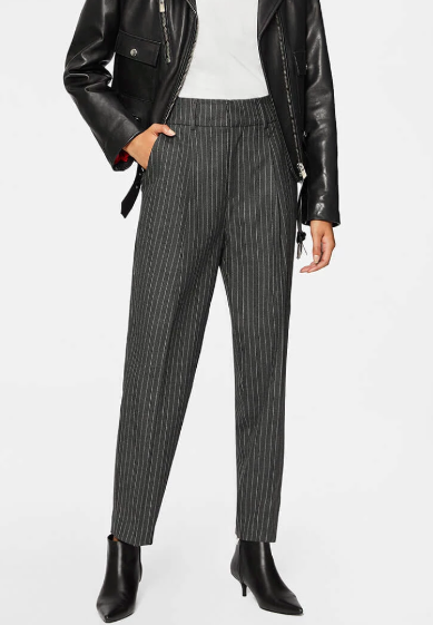 Anine Bing tapered leg charcoal pinstripe trousers