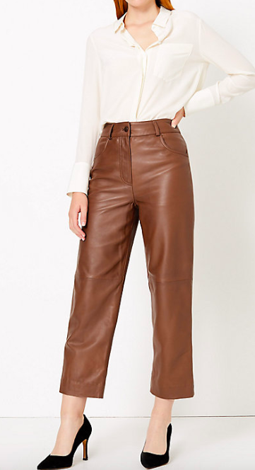 Marks & Spencer copper leather trousers