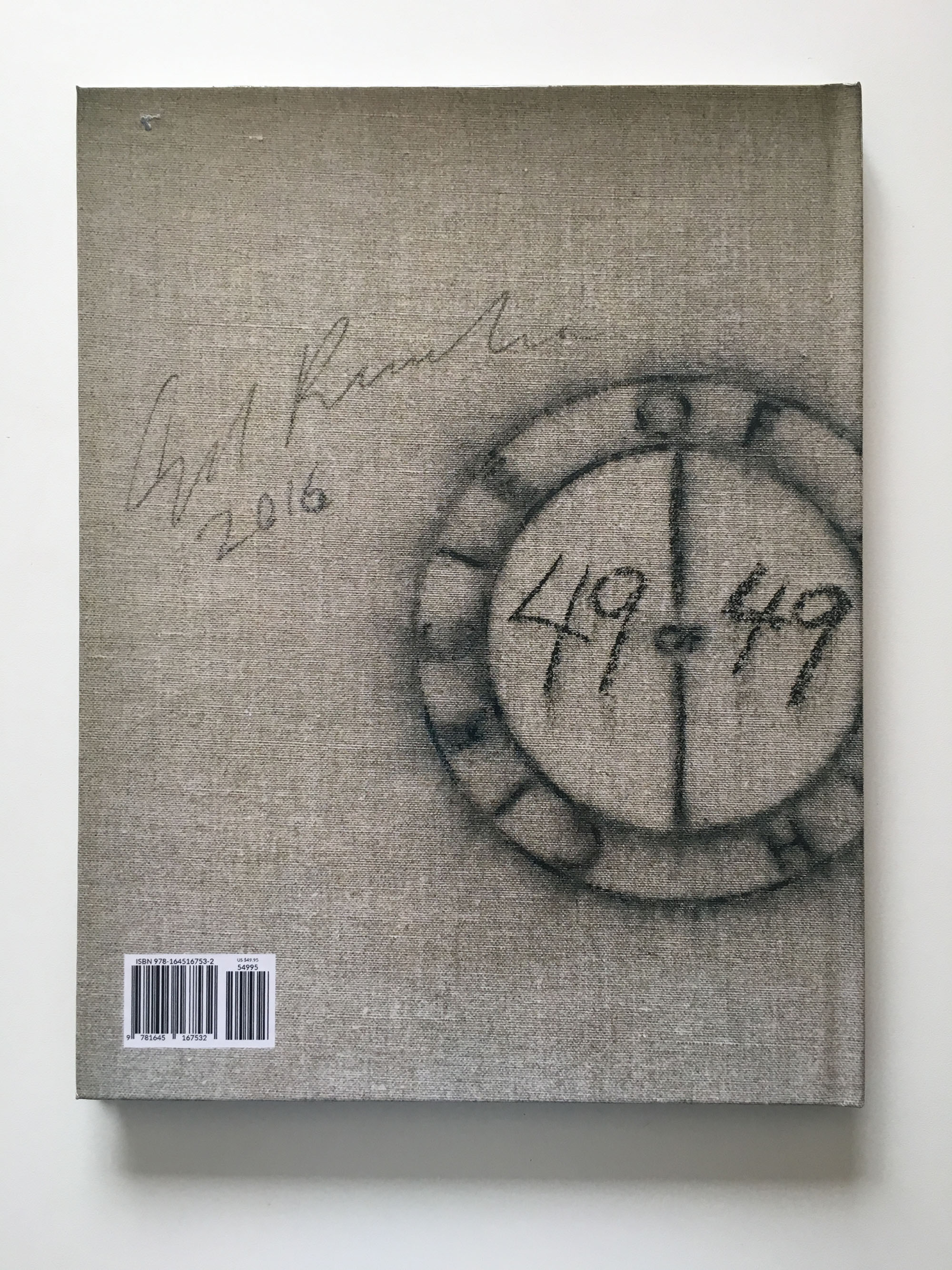 Back cover of the Circle of Truth exhibition catalog, featuring a verso detail photo of Ed Ruscha's painting #49