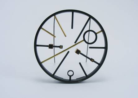 Catherine Rua, Like Clockwork Brooch , 2018, Sterling Silver, 9ct gold,  Stainless Steel Brooch Pin, 6.2cm diameter,