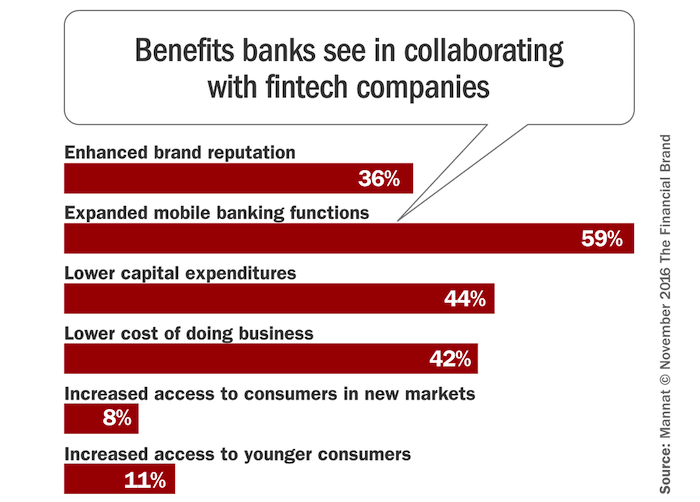 Graph of Benefits Banks Identify from FinTech Partnerships (Image Credit -  MSYS/FinancialBrand )