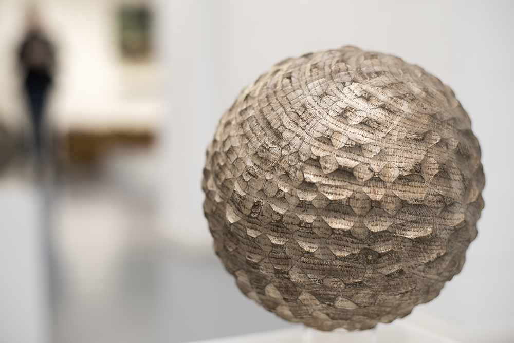 Silver Gilt Small Sphere ,  Hearts of Oak,solo show (2015) .Bedales Gallery, Hampshire, UK. Photo: Jacqui Hurst