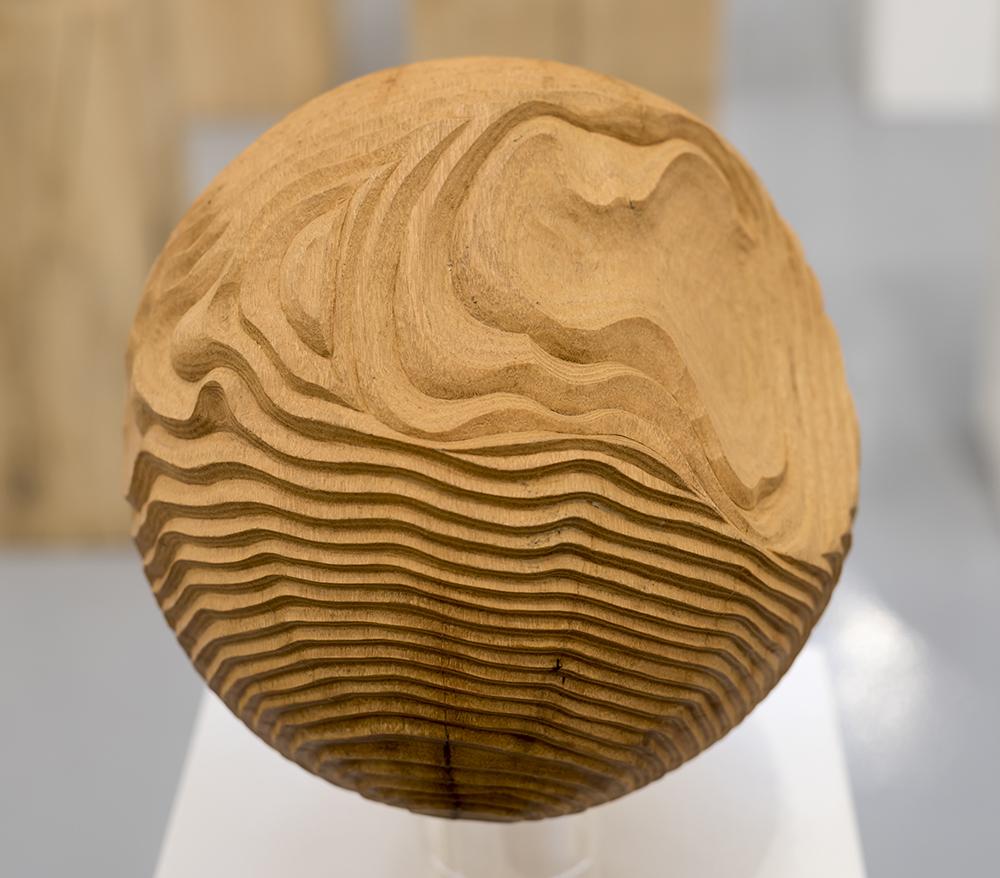 Acacia Sphere II,   Hearts of Oak, solo show, Bedales Gallery, Hampshire, UK (2015) .Photo: Jacqui Hurst