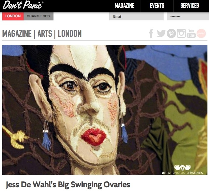 With an aim to inspire social change - artist Jess De Wahl's new solo exhibition features hand-sewn 3D portraits of inspiring female role models, including Beyonce, Vivienne Westwood and Frida Kahlo. The unique pieces are created entirely from upcyled clothing.The exhibition will run for 11 days at #13 Whitcomb Street, WC2H 7HA, with the opening night on 8 March 2014: International Women's Day. Half of the proceeds made will go towards the organisation #techmums. For more info, check out Big Swinging Ovaries!