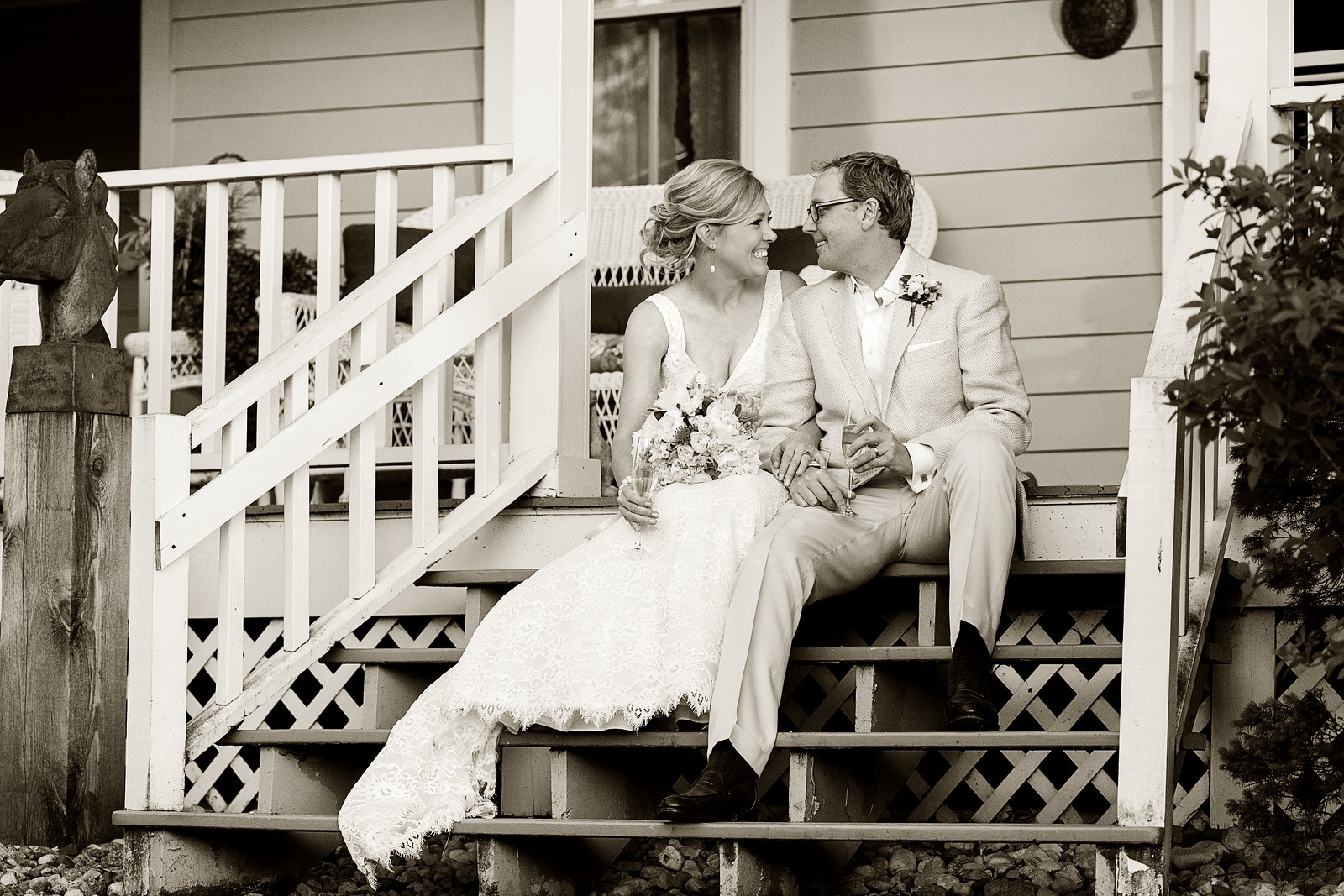 Bride and Groom with Vintage Style, Lake Geneva WI.