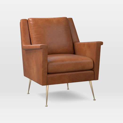 Carlo Leather Mid-Century Chair