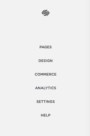 Главное меню конструктора  Squarespace , где  Pages  открывает вам страницы вашего сайта,  Design  позволяет менять внешний вид сайта,  Commerce  открывает меню торговли,  Analytics  показывает трафик и конверсию сайта,  Settings  меняет настройки сайта и  Help  открывает страницу помощи