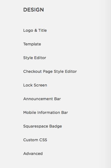 Меню Дизайн. Здесь, помимо прочего, вы меняете внешний вид сайта в  Style Editor  и вставляете ваши коды в  Custom CSS