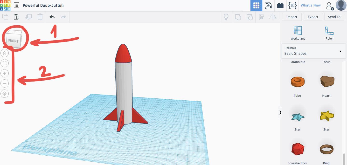 (1) — инструмент для изменения угла обзора  The View Cube , (2) — панель навигации
