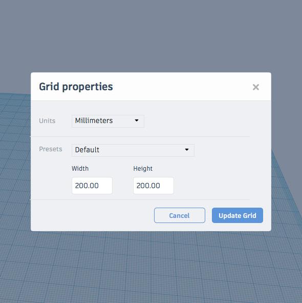 Окно настроек рабочей сетки  Ред. сетку /Edit Grid (где  Units  — единицы измерения,  Presets  — заготовки размеров для печатных поверхностей различных 3D принтеров,  Width  — ширина сетки,  Height  — высота сетки)