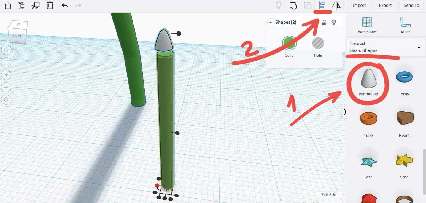 Используем параболоид для создания кончика ветки. С помощью  Выровнять /Align выравниваем основание ветки и параболоид