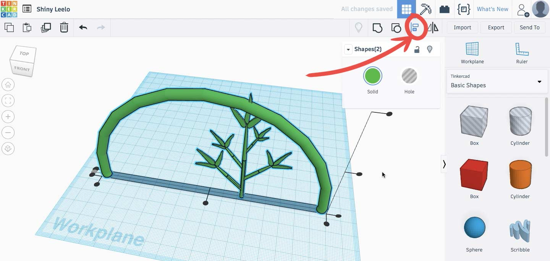 Выравниваем стебель и ветку по оси Y с помощью  Align