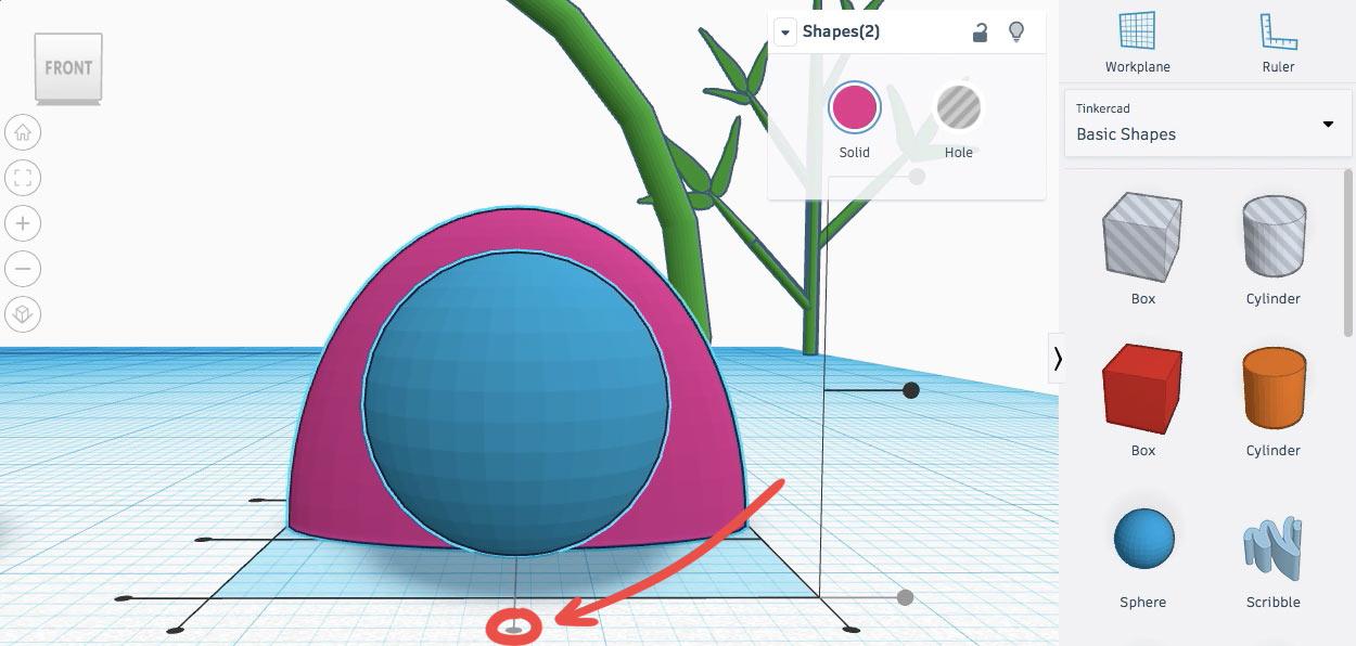 Выравниваем сферу и полусферу по оси X
