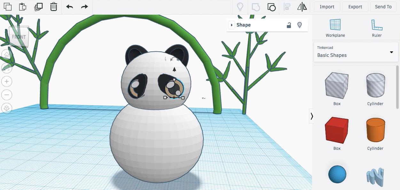 Дублируем глаз панды и сдвигаем ко второму пятну