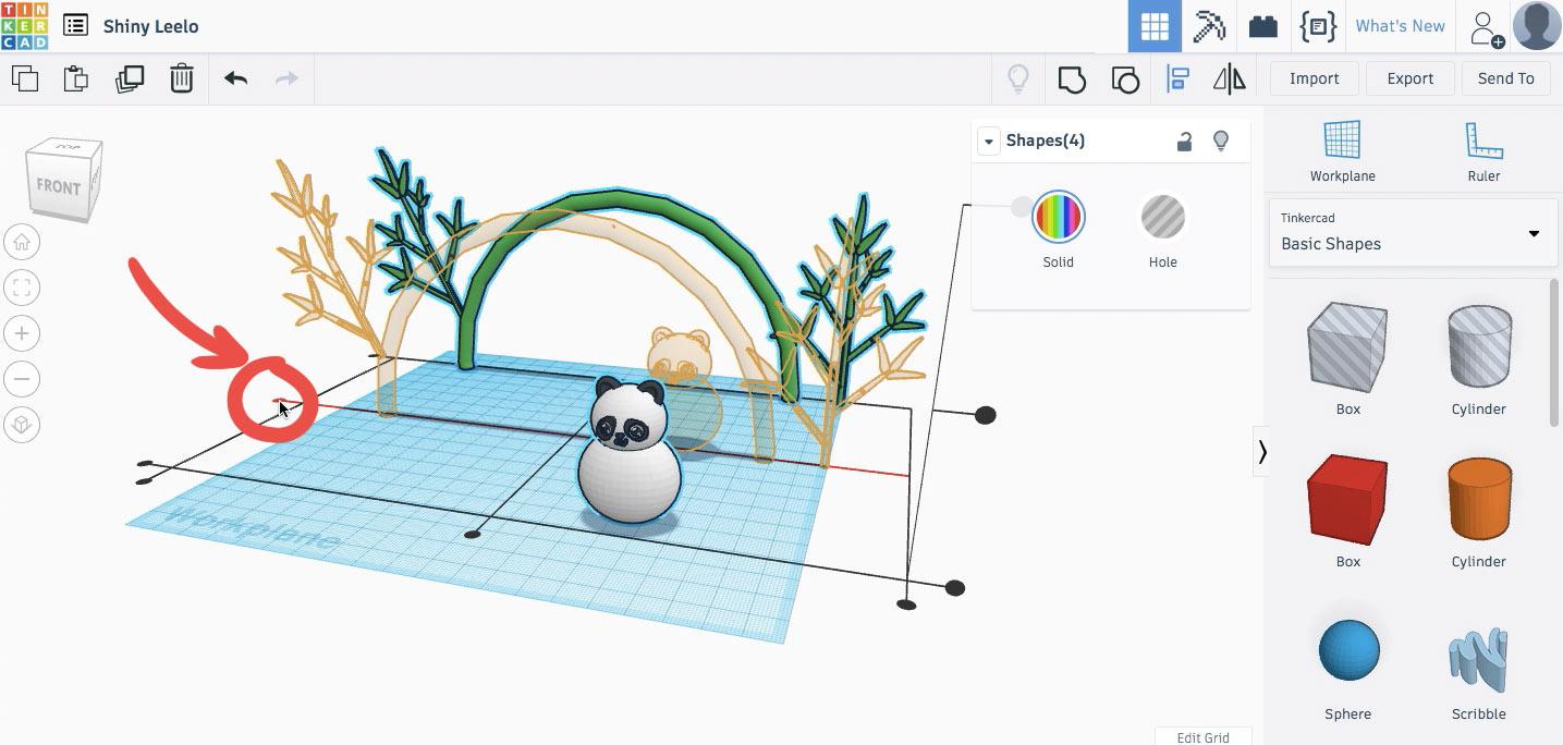 Выравниваем панду и бамбук с помощью Выровнять/Align