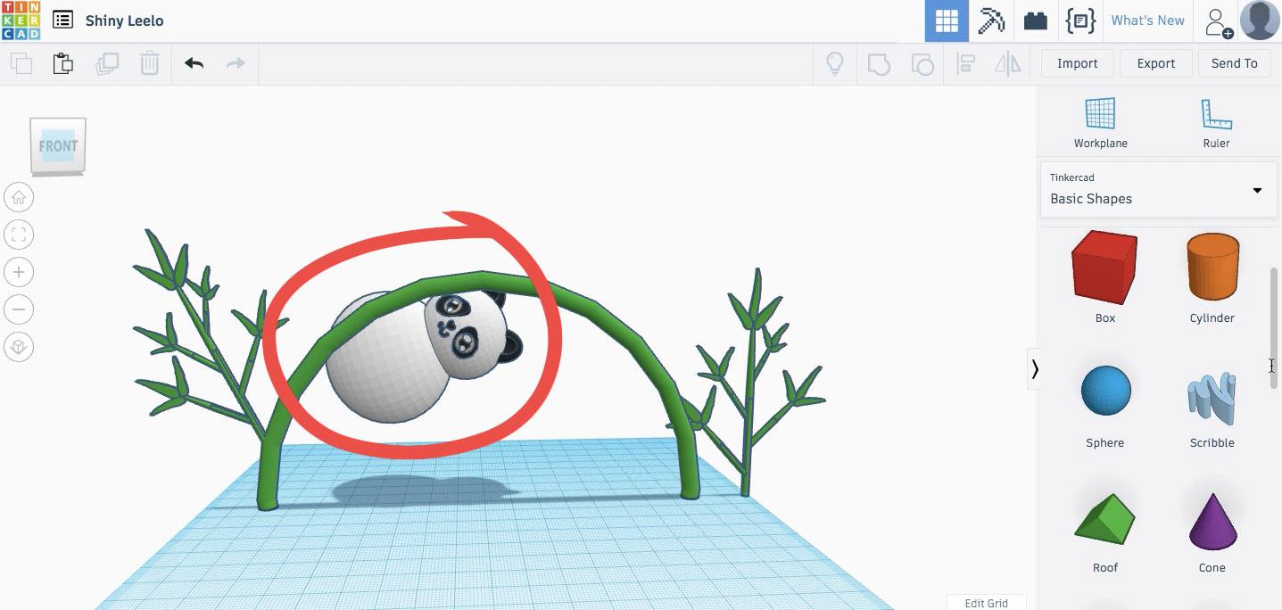 Подгоняем размер панды и располагаем ее на стебле