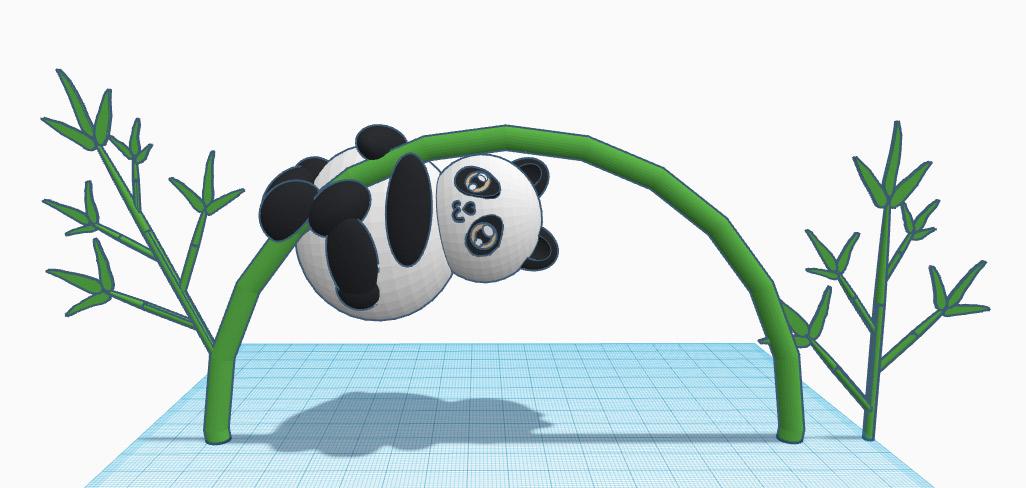 Финальное положение панды на бамбуковом стебле