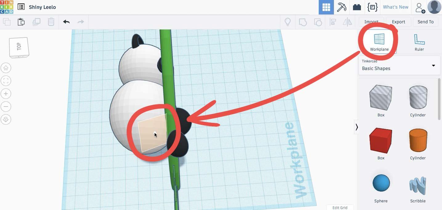 Для создания задней конечности используем Рабочую плоскость/Workplane