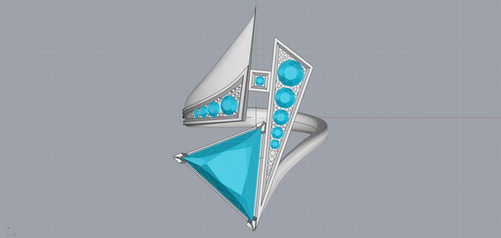 Кольцо, созданное в Rhinoceros 3D, до подготовки к рендерингу