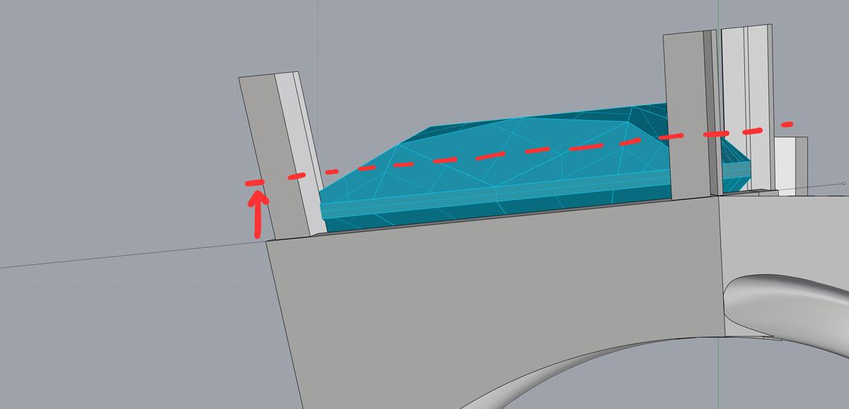 Поднимаем кривую для обрезки крапанов на середину между полкой камня и рундистом