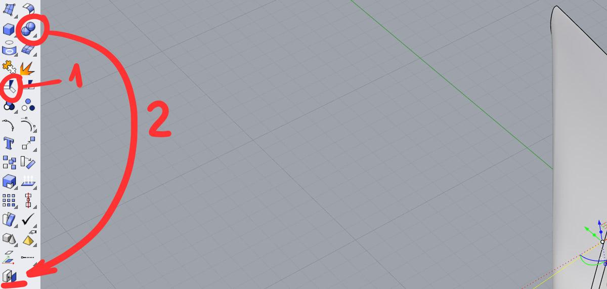 С помощью команды  Trim  (1) обрезаем крапаны, а получившиеся отверстия закрываем командой  Cap Planar Holes  (2), предварительно выбрав крапаны