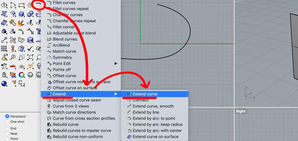 Расположение команды  Extend Curve.  Интерфейс Рино на Mac