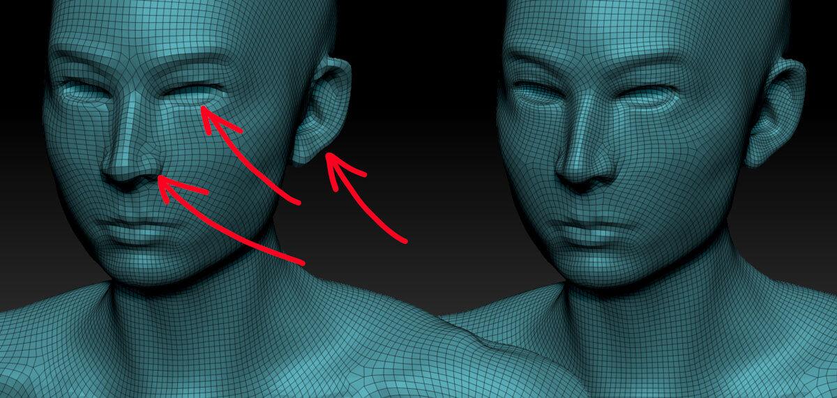 Слева — ретопология модели с  Adaptive Size  = 0, справа — ретопология модели с  Adaptive Size  = 80. Обратите внимание, что чем выше значение Adaptive Size, тем лучше ZRemesher сохраняет изгибы и форму модели. Это хорошо заметно на ушах, носу и глазницах меша