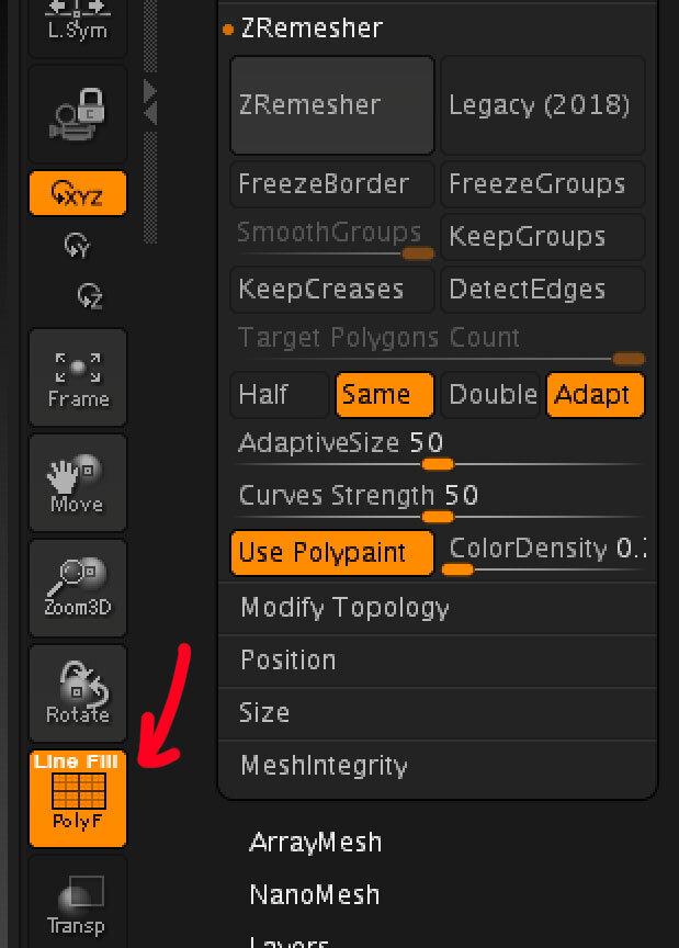 Чтобы увидеть топологию, жмем кнопку  Draw Polyframe