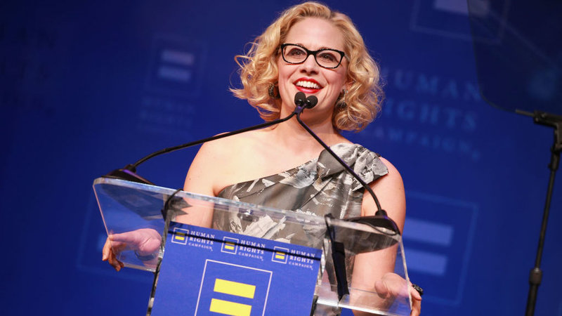Rep. Kyrsten Sinema, D-Ariz., speaks onstage at The Human Rights Campaign 2018 Los Angeles Gala Dinner at JW Marriott Los Angeles earlier this year. She's running this year for Senate, aiming to be just the second LGBTQ person elected to that body.  Rich Fury/Getty Images