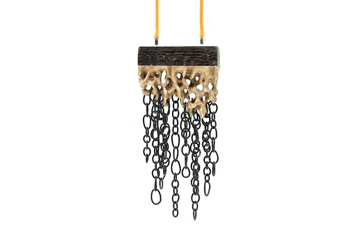 Cloudburst  necklace, 2016 Walnut wood, maple wood, sterling silver, steel, wax cord