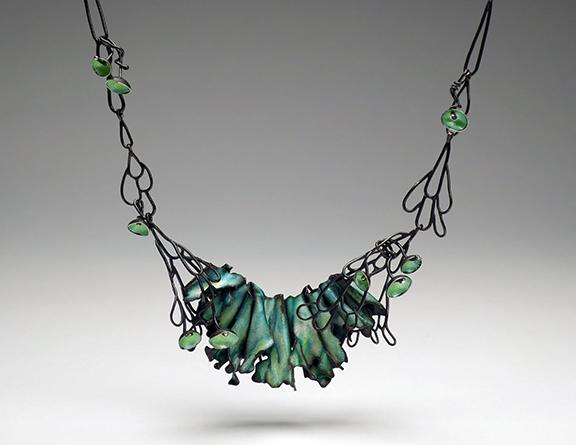 Lichen Necklace  (2016) Copper, silver, enamel, patina