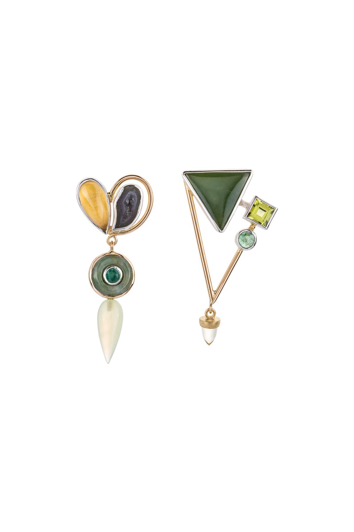 Sterling silver, 18kt yellow gold, beryl, drusy crystal, jade, emerald, peridot, jade, aventurine, serpentine 2016