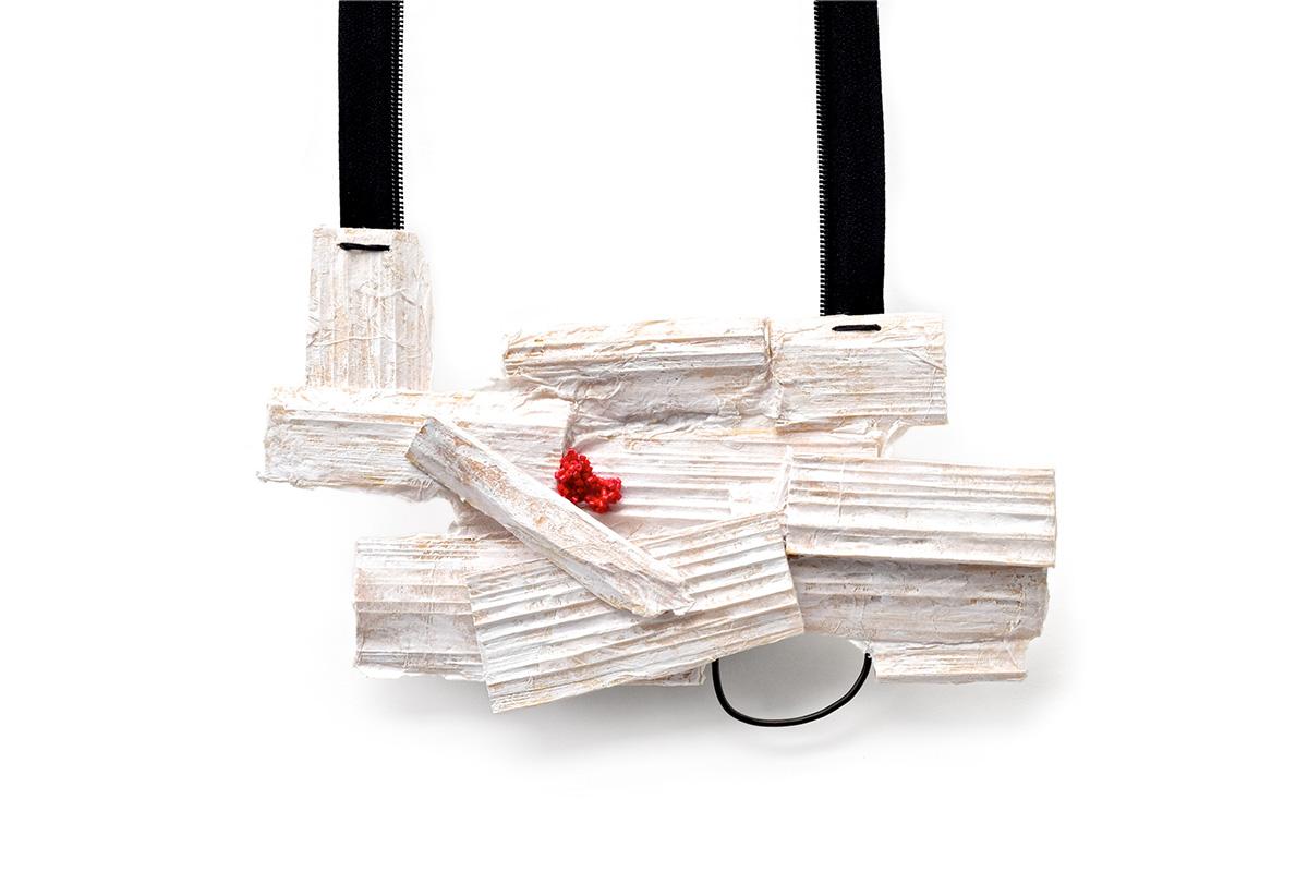 Layers  Wood, paper, paint, glass beads, steel, zipper