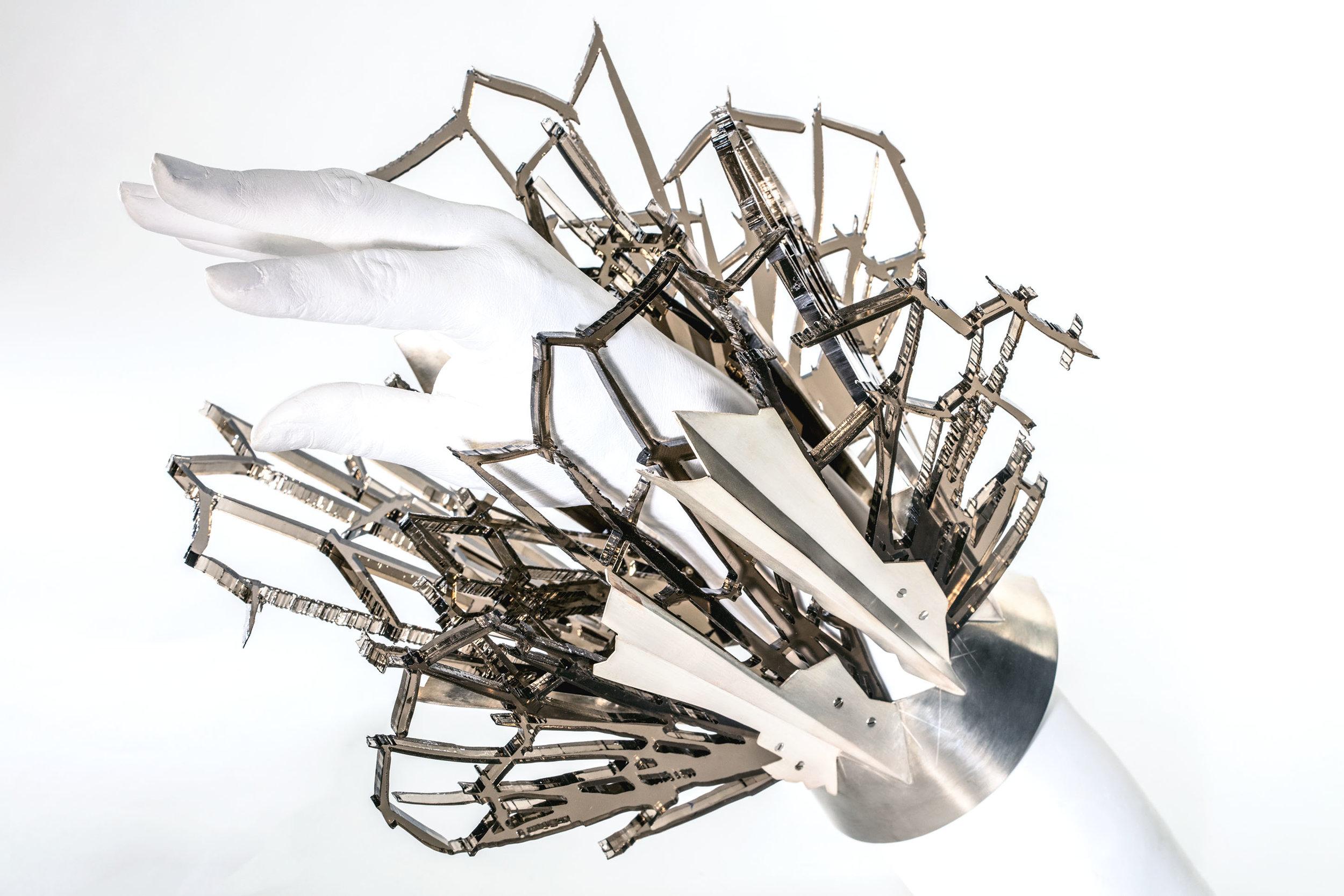 Fragmented  (2017) Nickel silver, sterling silver, laser cut plexi