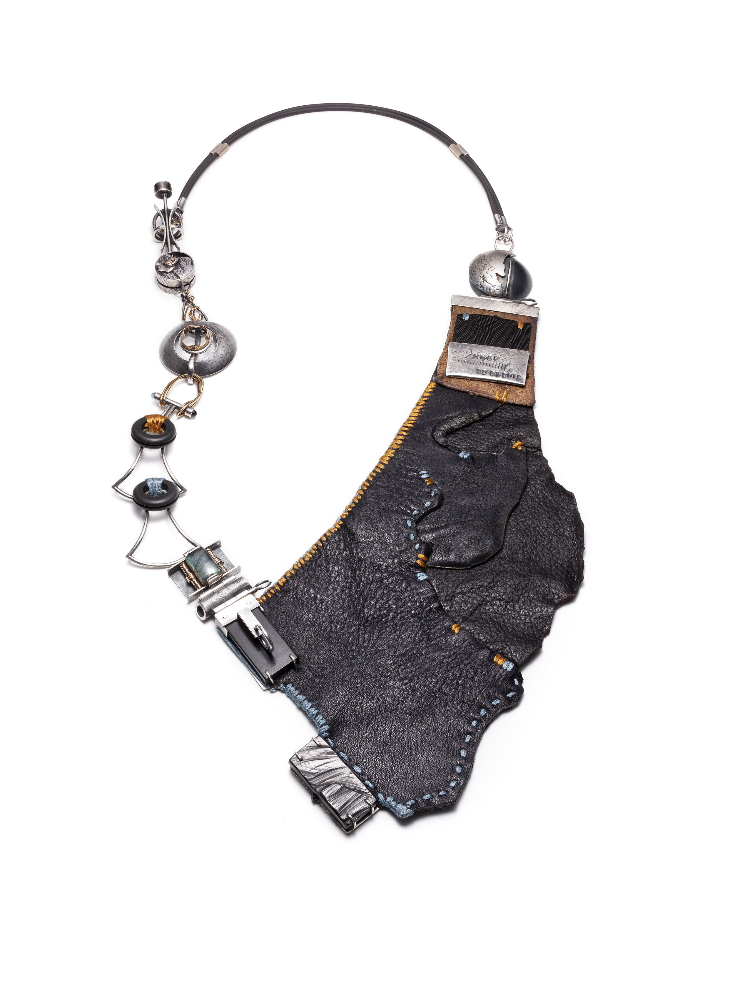 Monique Miller  Core  Neckpiece (2018) Sterling silver, 14k gold, leather, ebony, rubber, cotton, labradorite, london blue topaz
