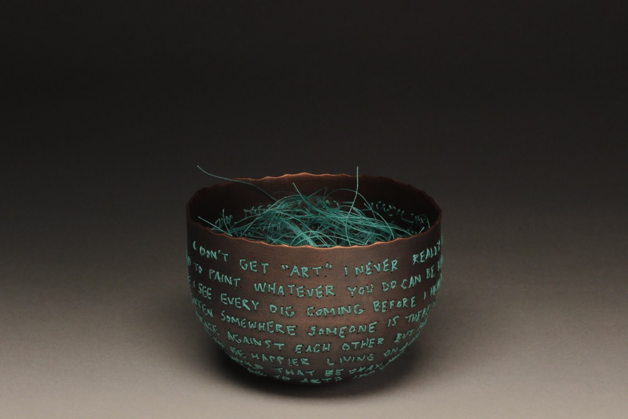 Anna Ferguson  I Don't Get Art  (2019) Copper, liver of sulphur, polyester thread Image by the artist