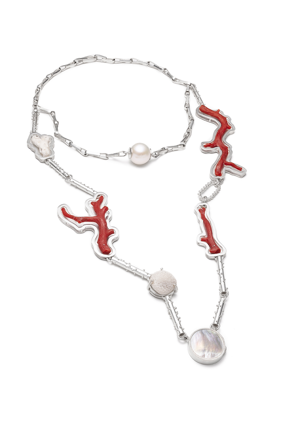 Maeva Lacombe Untitled (2019) Sterling silver, coral, mother of pearl Image by Anthony McLean