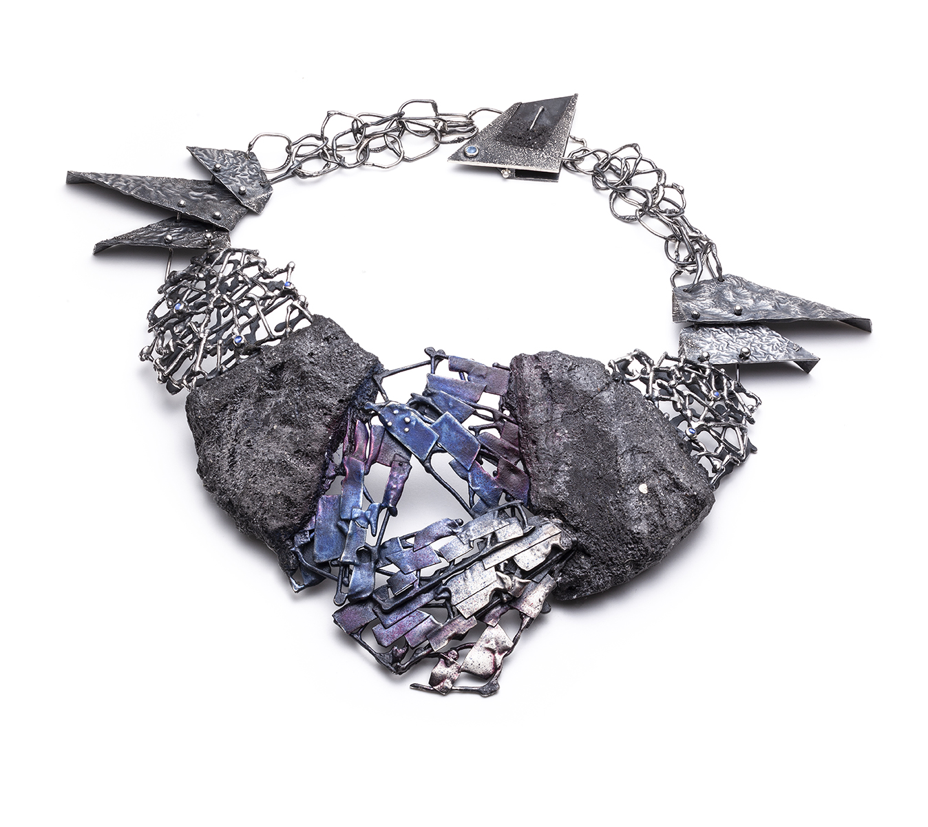 Noore Saleh  Storm  (2019) Sterling silver, moonstones, concrete, lapis lazuli pigment, Alizarin crimson pigment, siccative oil Image by Anthony McLean