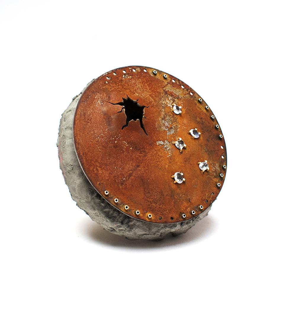 Kim Paquet  Side Effects  Steel, sapphire, silver, grout, paint, foam