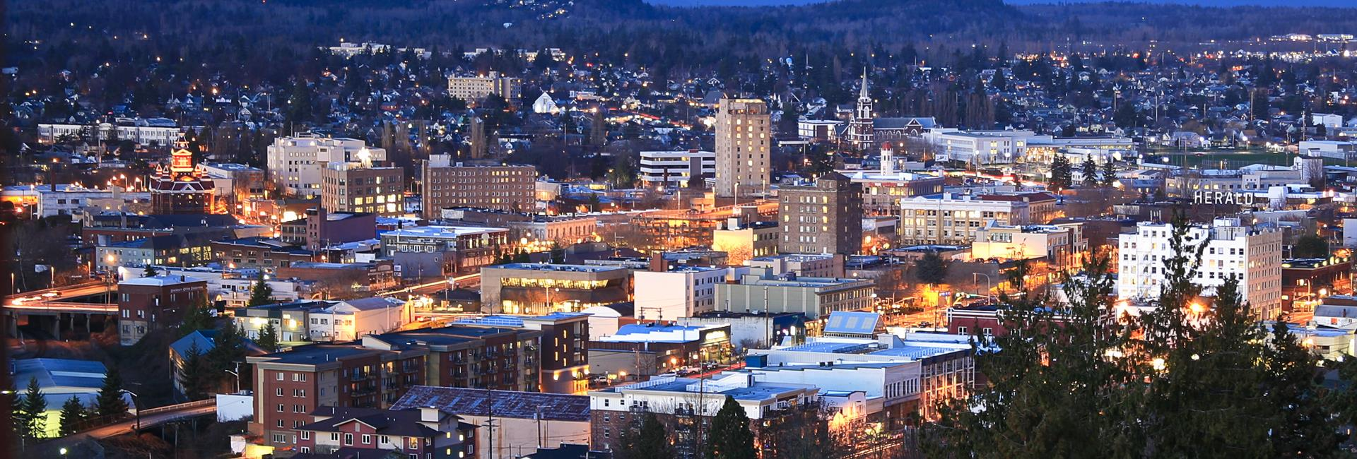 Beautiful downtown bellingham.  Herald building on far right