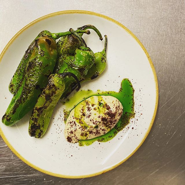 Green peppers of the frigatelli variety, on with some smoked cods roe