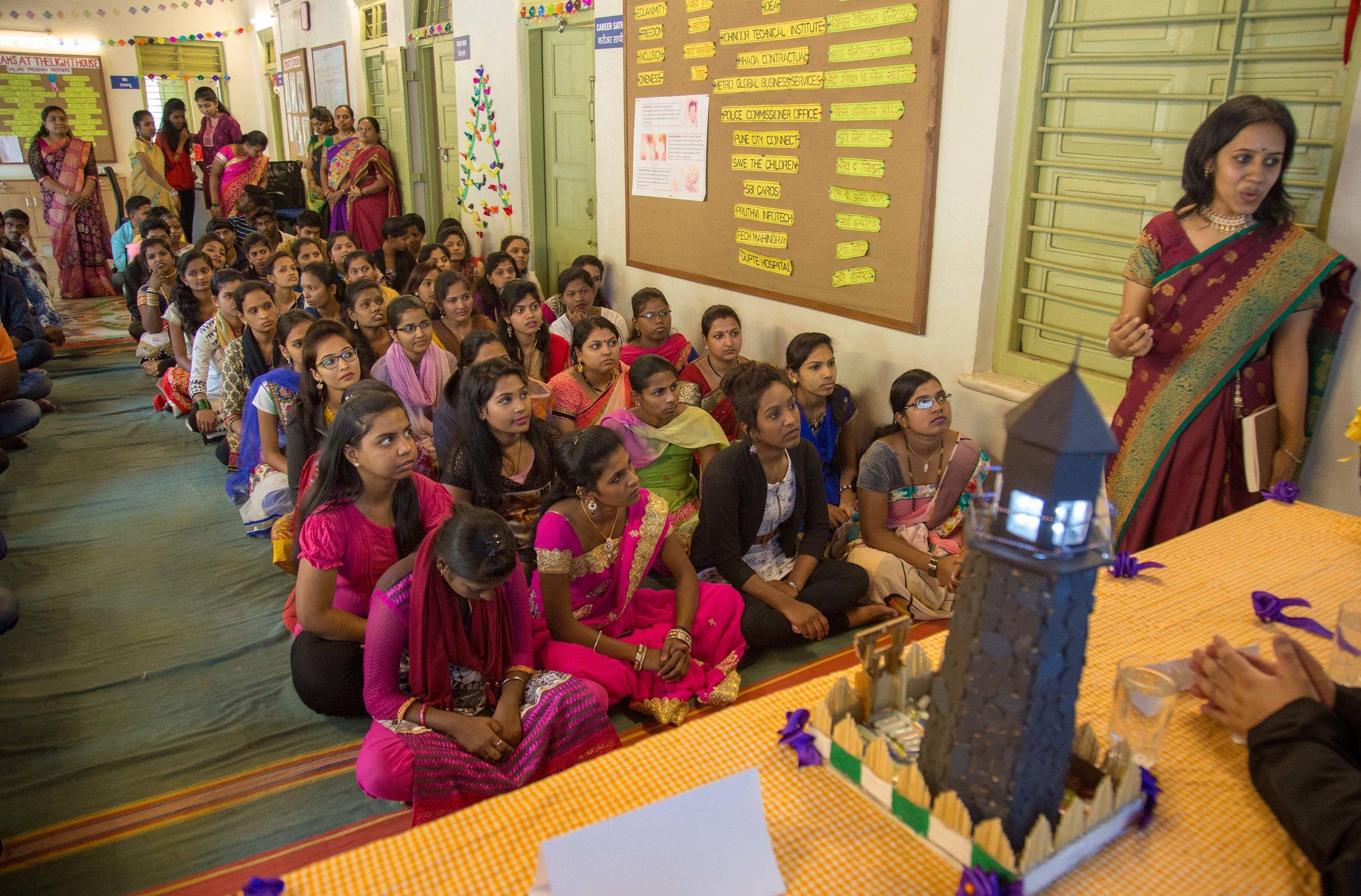 Amruta Bahulekar (right) during a Lighthouse Presentation