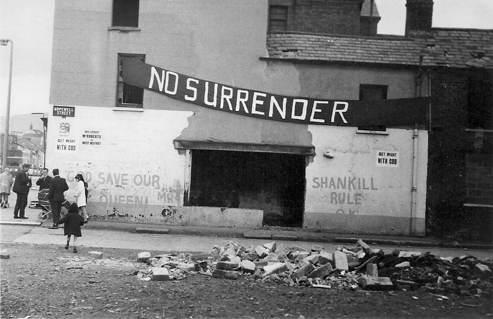 The Shankill road, Belfast during the troubles.